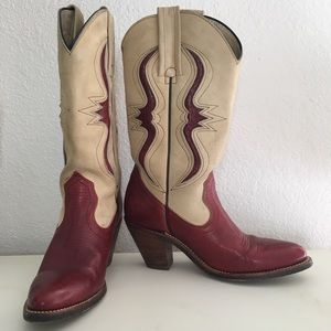 Frye vintage cowboy boots red tan